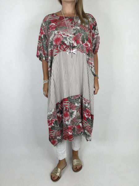 Lagenlook Curve Tropical Print Tunic in Mocha. code 1477
