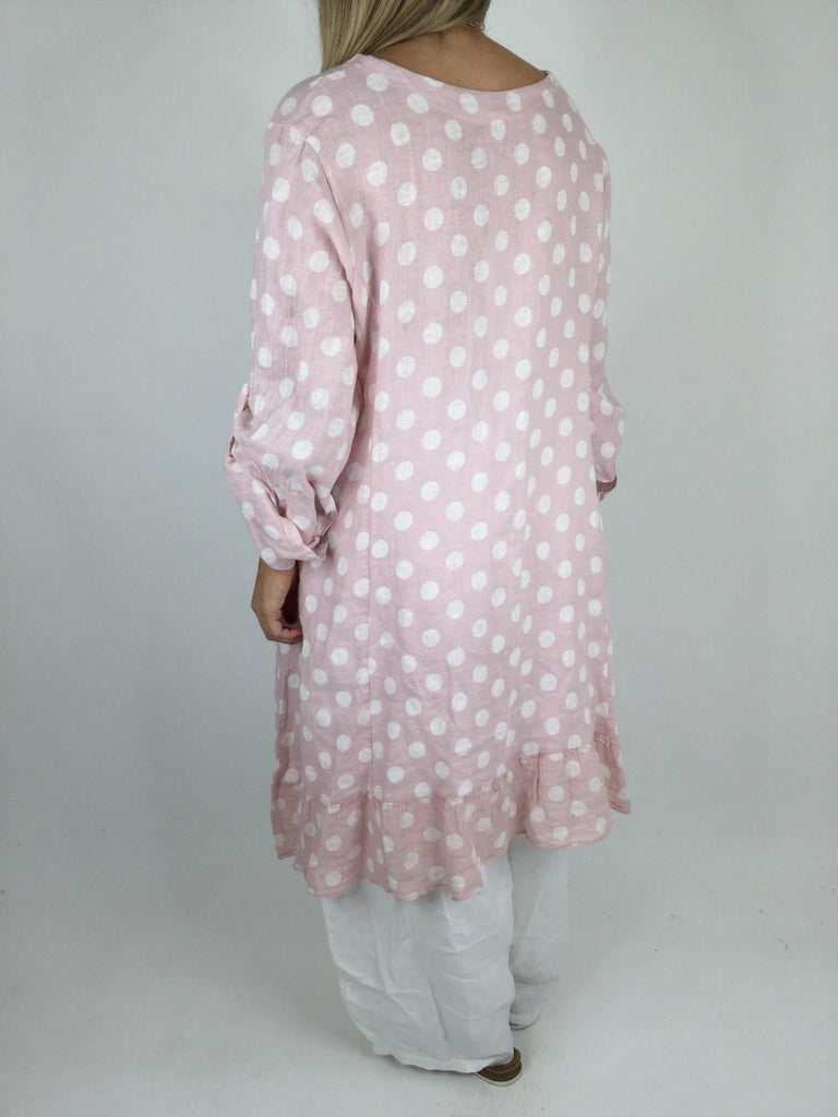 Lagenlook Linen Polka Dot Tunic Top in Pale Pink. code 4325