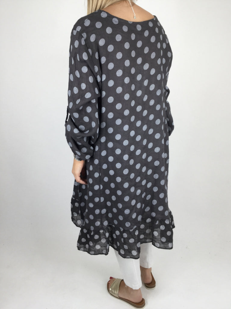 Lagenlook Linen Polka Dot Tunic Top in Charcoal. code 4325