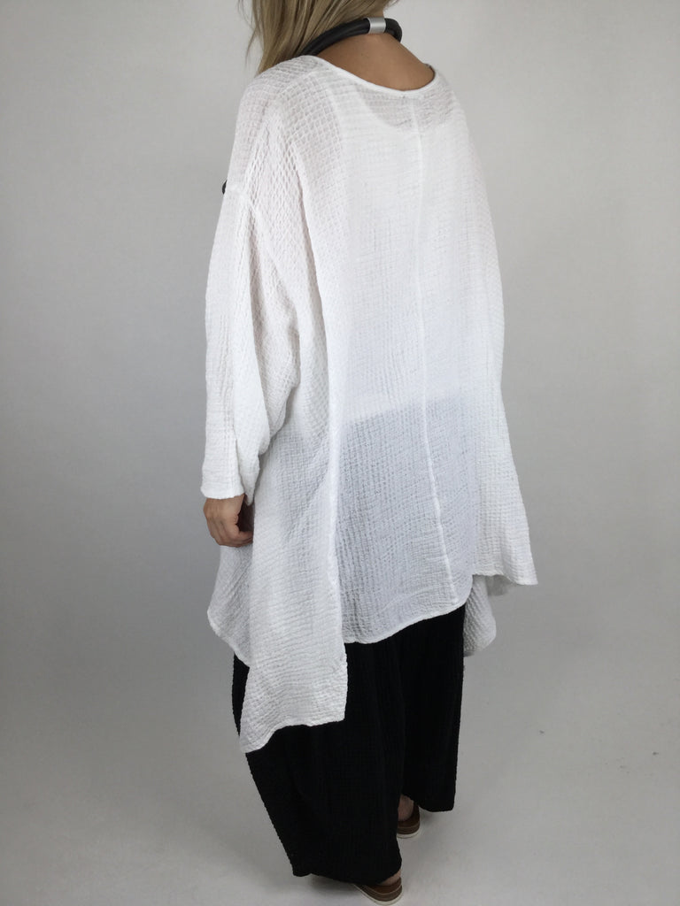 Lagenlook Curve Cotton Waffle Texture Poncho Tunic in White. code 3981