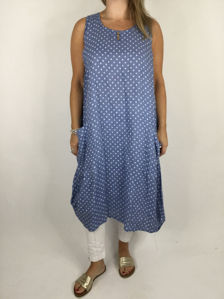 Lagenlook Polka Dot Linen Tunic in Denim Blue. code 4412