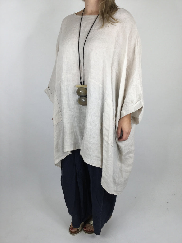 Lagenlook Linen Poncho Top in Cream. code 461