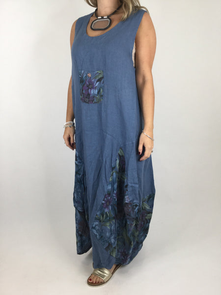 Lagenlook  Flower  Pocket Front Linen Tunic Dress in Denim Blue. Code 4518