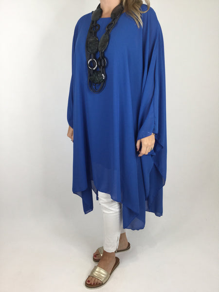 Lagenlook Float Oversized Poncho in Royal Blue. code WS1121