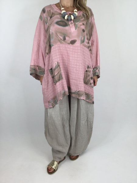 Lagenlook Abigail Linen Flower Detail Top in Pink. code 90557