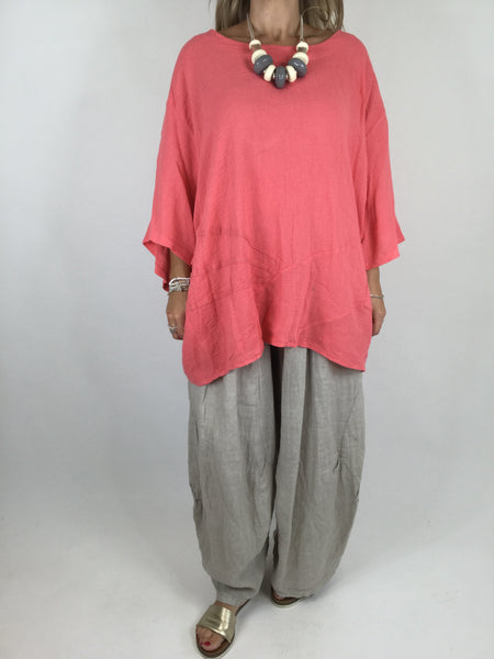 Lagenlook Linen Seam Detail Top in Coral .code 4538