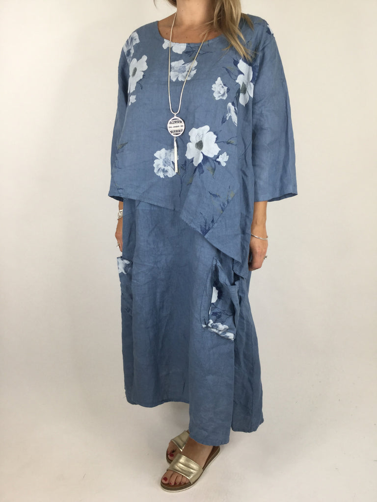 Lagenlook Lucy Flower Linen Dress Tunic in Denim  Blue. code 4456