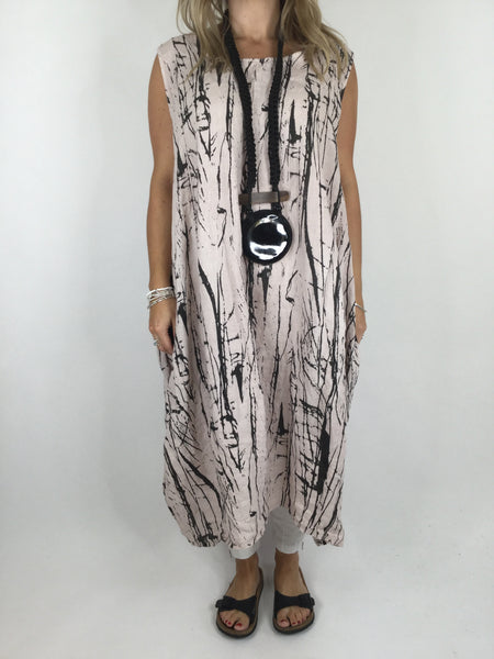 Lagenlook Kane Print Linen Tunic Dress in Pink. code 4385