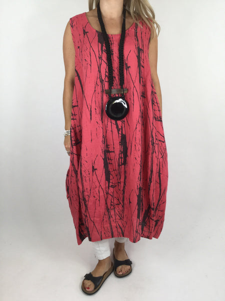 Lagenlook Kane Print Linen Tunic Dress in Coral. code 4385