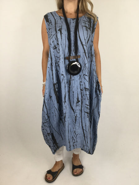 Lagenlook Kane Print Linen Tunic Dress in Denim Blue. code 4385