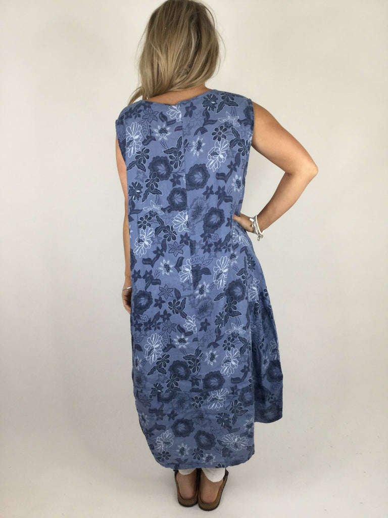 Lagenlook Kate Flower Linen Tunic Dress in Denim Blue. Code 8334