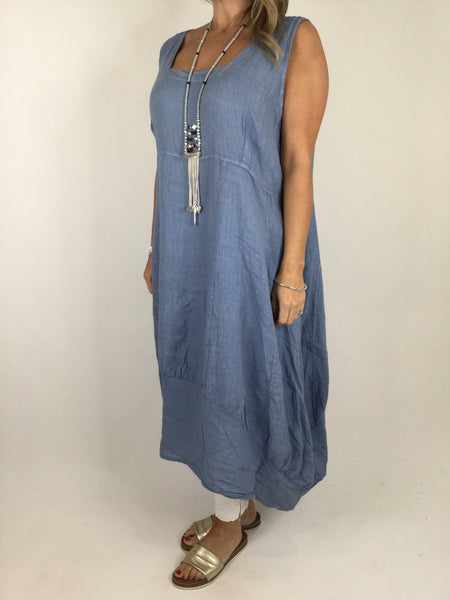 Lagenlook Square neck Linen Tunic Dress Top in Denim Blue. code 5698