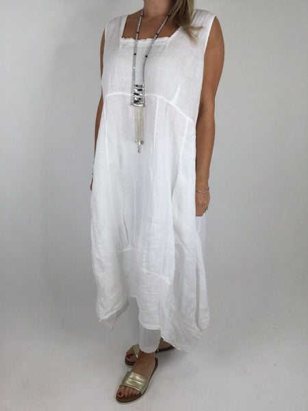 Lagenlook Square neck Linen Tunic Dress Top in White. code 5698