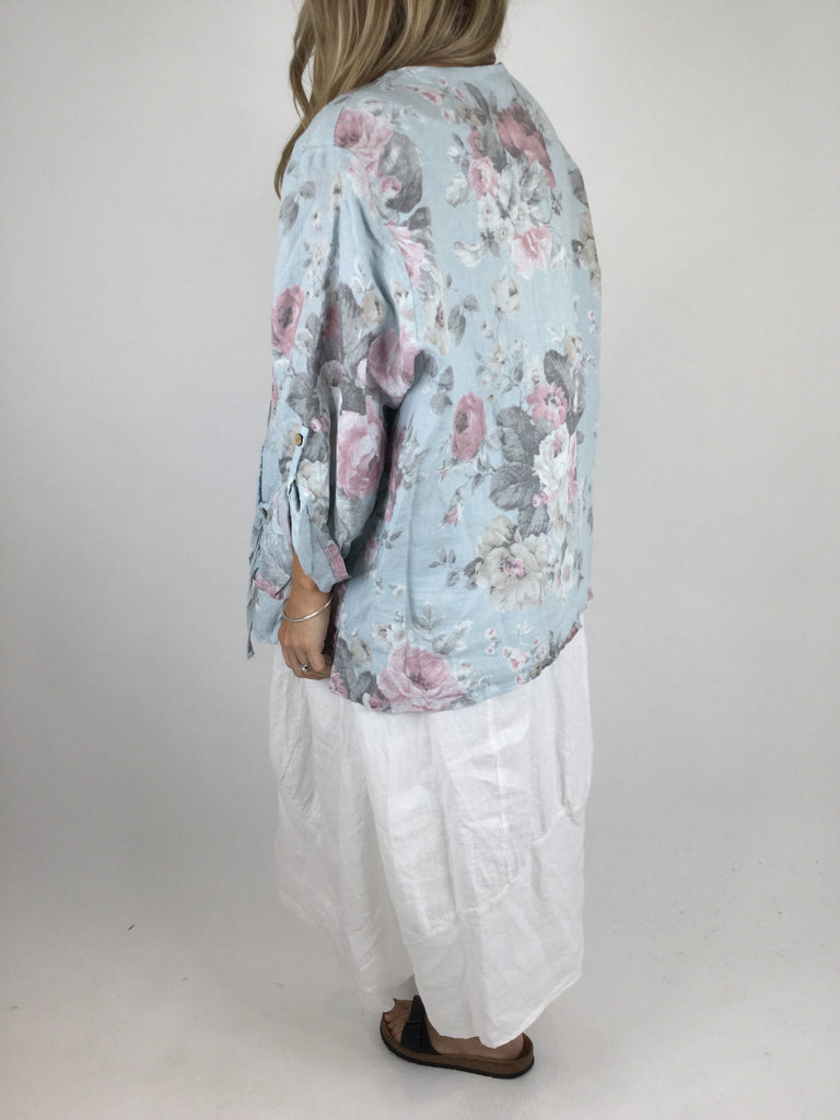 Lagenlook Line Flower Jacket in Blue. code 4522
