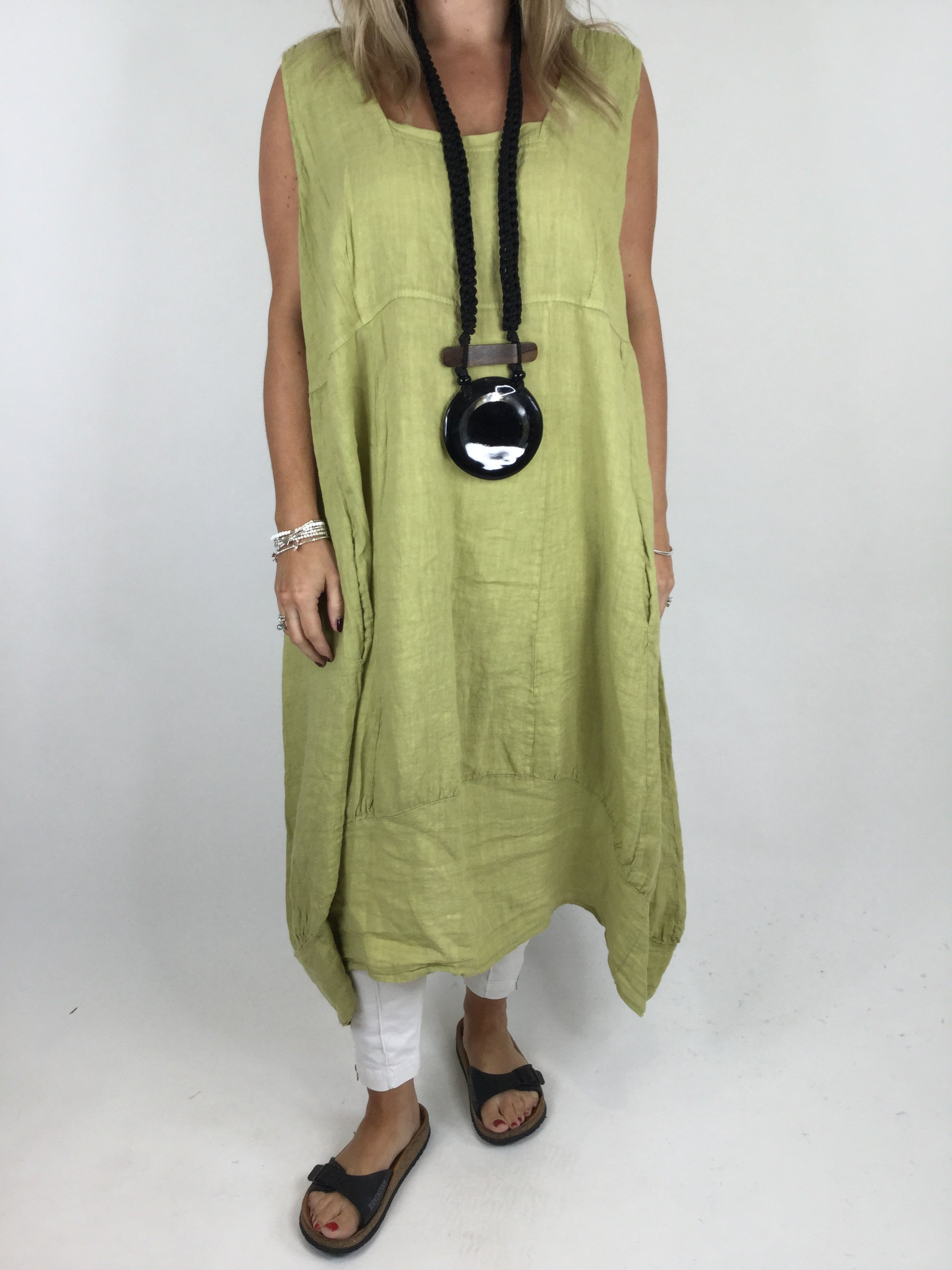 1a74bc1e17a Lagenlook Square neck Linen Tunic Dress Top in Lime . code 5698 - Lagenlook  Clothing UK