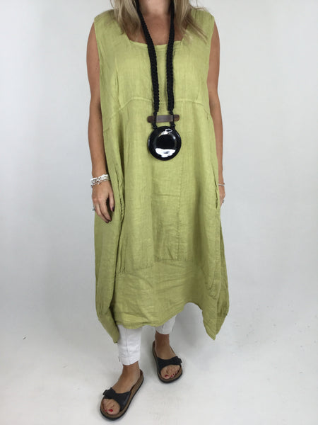 Lagenlook Square neck Linen Tunic Dress Top in Lime . code 5026