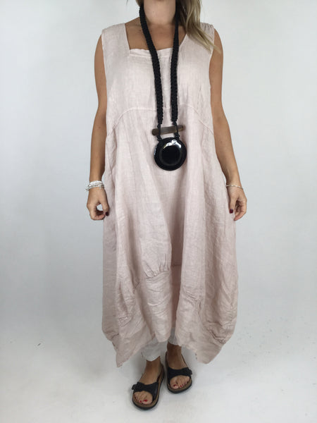 Lagenlook Square neck Linen Tunic Dress Top in Pale Pink. code 5698
