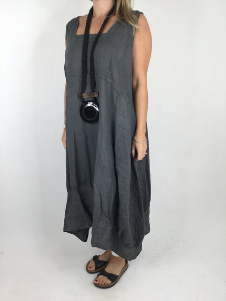 Lagenlook Square neck Linen Tunic Dress Top in Charcoal Grey. code 5698