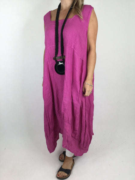 Lagenlook Square neck Linen Tunic Dress Top in Fuchsia Pink. code 5698