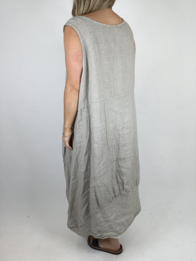 Lagenlook Square neck Linen Tunic Dress Top in Beige. code 4353