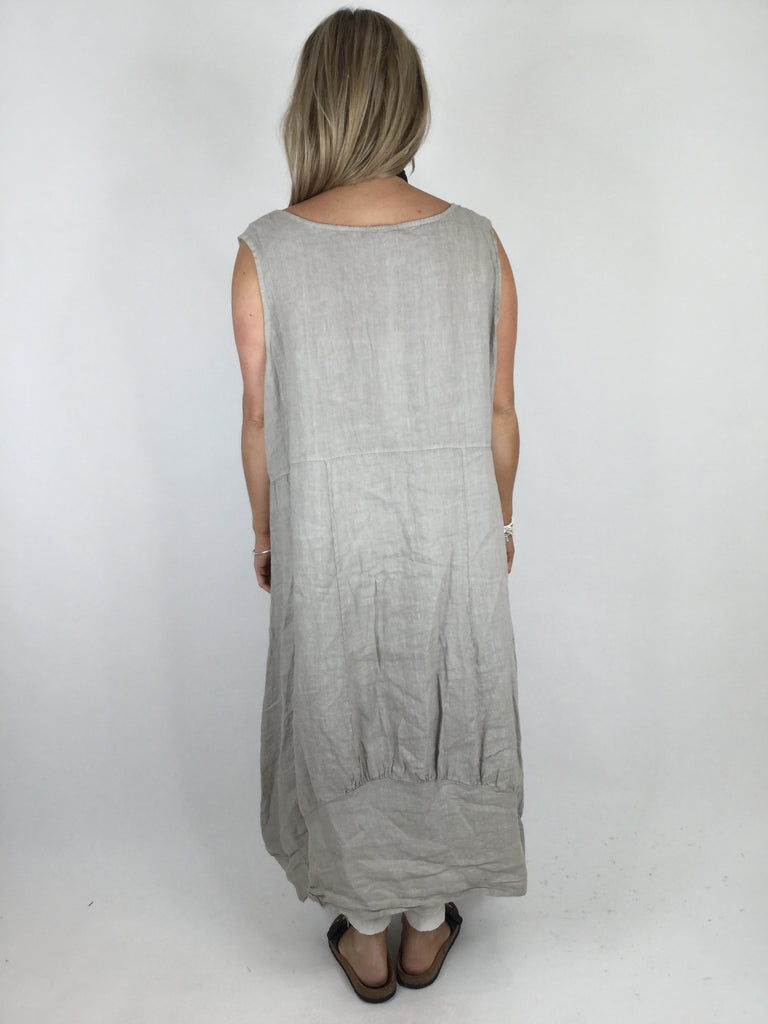 Lagenlook Square neck Linen Tunic Dress Top in Beige. code 5698