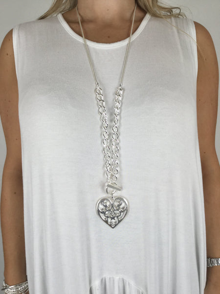 Lagenlook Chunky Chain Lattice Heart Necklace. code R006