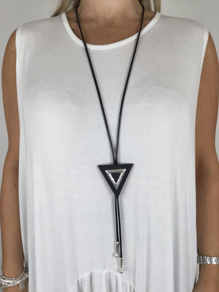 Lagenlook Wax Cord Triangle Necklace. Code R009