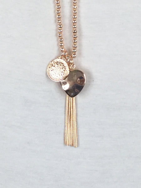 Lagenlook Mini Bead Tassel Necklace in Rose Gold . Code R016