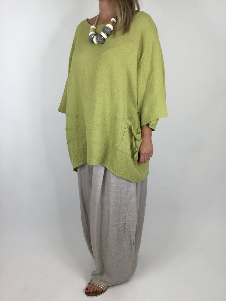 Lagenlook Linen Seam Detail Top in Lime .code 4538