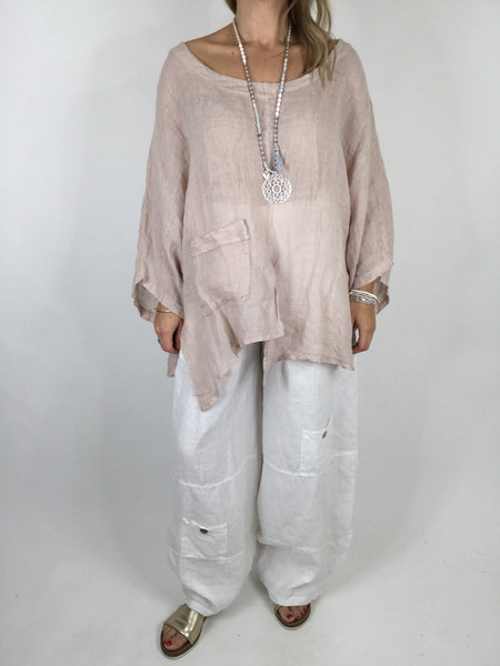 Lagenlook Cheesecloth Pocket Plain Top in Pale Pink. Code 4283