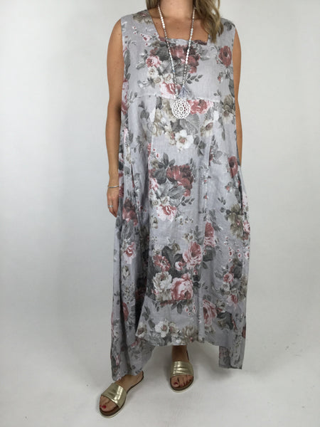 Lagenlook Square neck linen Flower Print Tunic Dress in Light Grey. code 90615