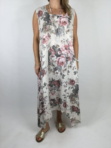 Lagenlook Square neck linen Flower Print Tunic Dress in Cream. code 90615