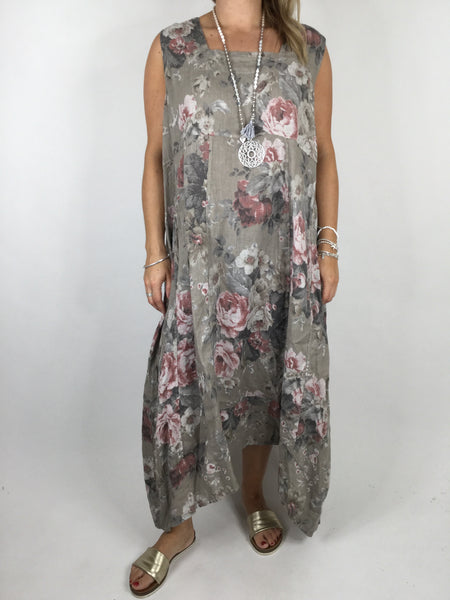 Lagenlook Square neck linen Flower Print Tunic Dress in Mocha. code 90615