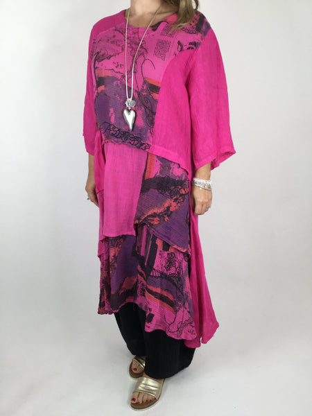 Lagenlook Postcard Print Tiered Tunic in Hot Pink. code 90578