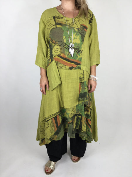 Lagenlook Postcard Print Tiered Tunic in Lime. code 90578