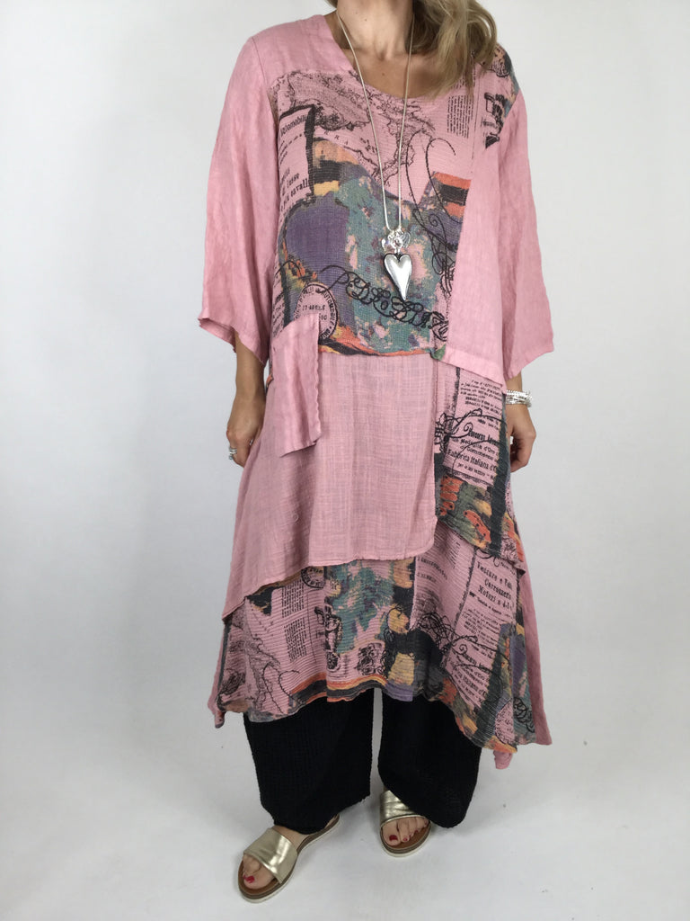 Lagenlook Postcard Print Tiered Tunic in Pale Pink . code 90578