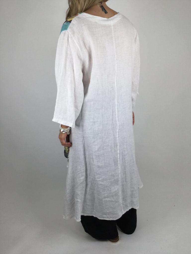 Lagenlook Postcard Print Tiered Tunic in White. code 90578
