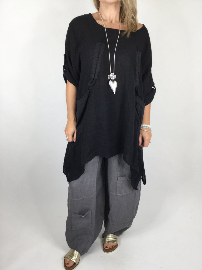 Lagenlook Cheesecloth Gathered Front Top in Black. code 4551