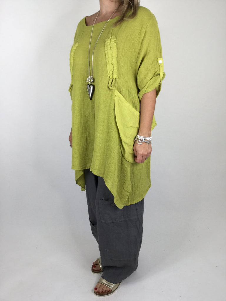 Lagenlook Cheesecloth Gathered Front Top in Lime. code 4551