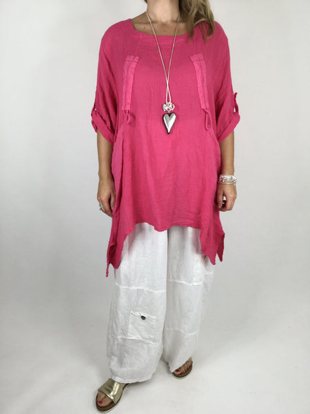 Lagenlook Cheesecloth Gathered Front Top in Hot Pink. code 4551