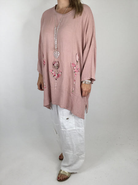 Lagenlook Flower Detail Layering to in Pink. code 4512