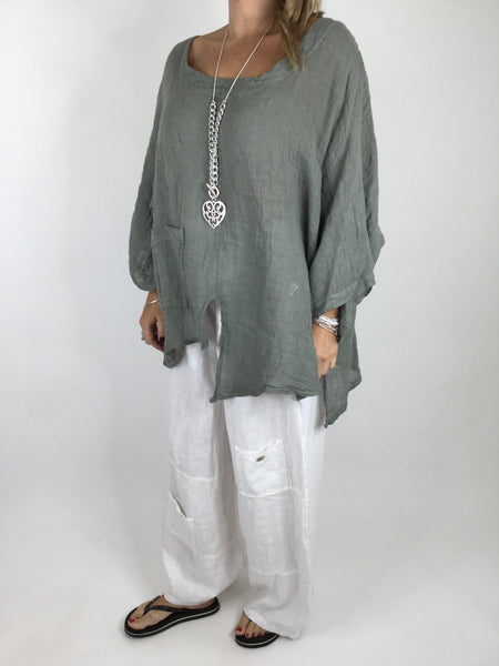 Lagenlook Cheesecloth Pocket Plain Top in Khaki . Code 4283
