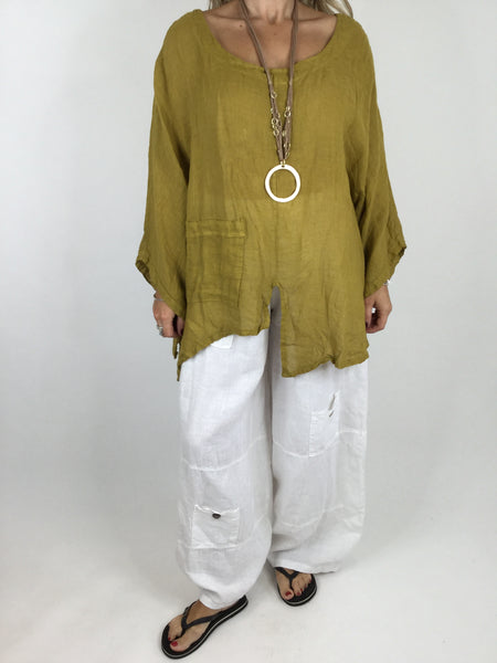 Lagenlook Cheesecloth Pocket Plain Top in Mustard. Code 4283