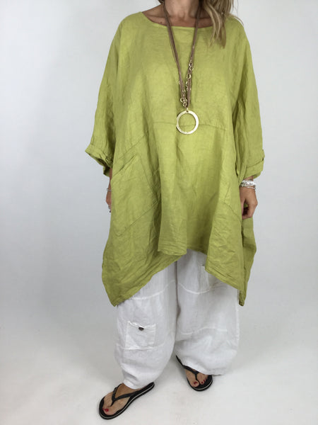 Lagenlook Linen Plain Poncho Top in Lime. code 5699