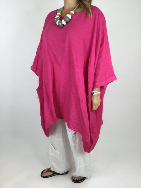 Lagenlook Linen Plain Poncho Top in Fuchsia Pink. code 5699