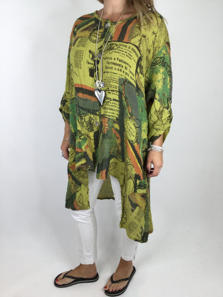 Lagenlook Postcard Cheesecloth Button Front Tunic Top in Lime. code PC90333