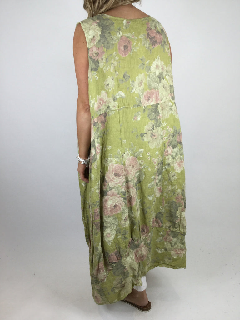 Lagenlook Emily Square neck linen  Flower Print Dress in Lime. code 5697