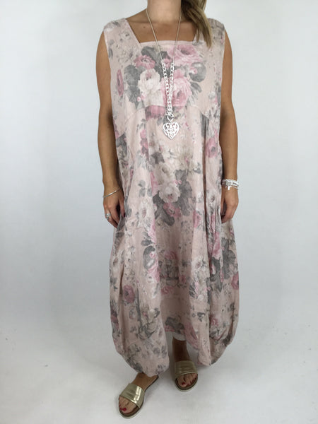 Lagenlook Emily Square neck linen Flower Print Dress in Pale Pink. code 5697