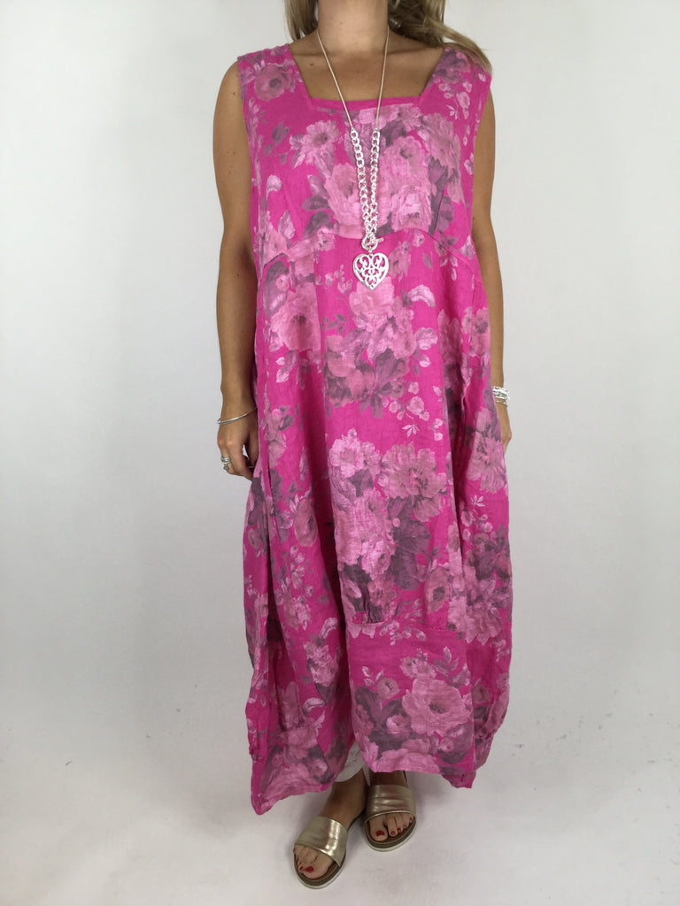 Lagenlook Emily Square neck linen  Flower Print Dress in Fuchsia Pink. code 5697