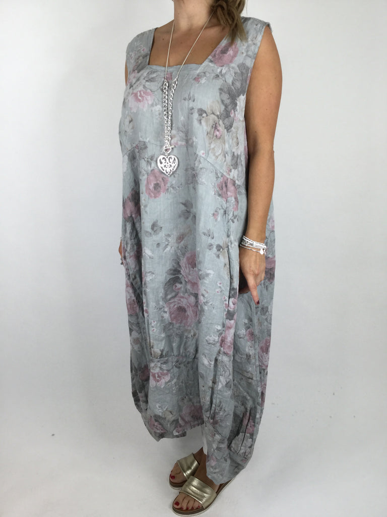 Lagenlook Emily Square neck linen Flower Print Dress in Pale grey. code 5697